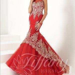 Red Tiffany prom dress size 4